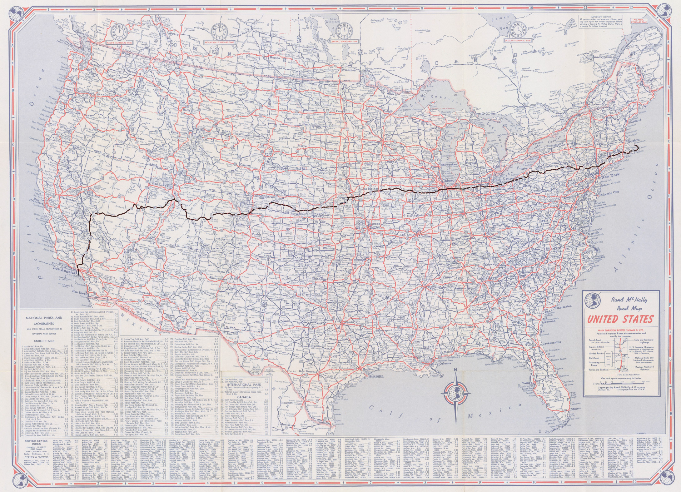 Route 6 Walk Rand Mcnally 1947 Road Maps Us Route 6 - Road-map-of-the-us